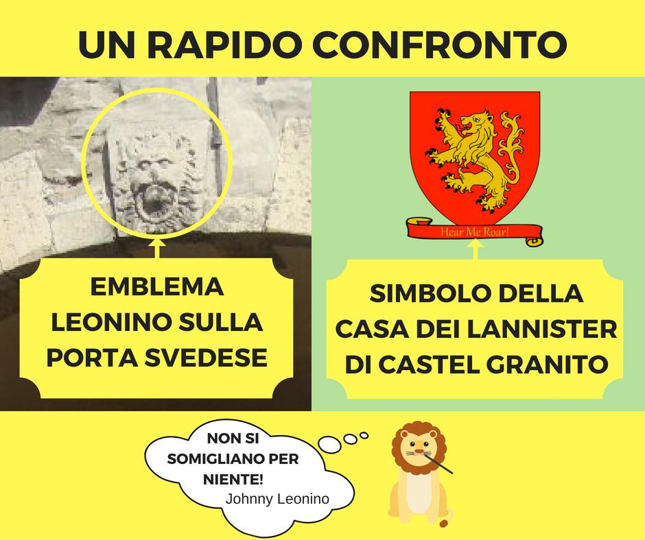 Confronto stemma Leone Riga e stemma Lannister