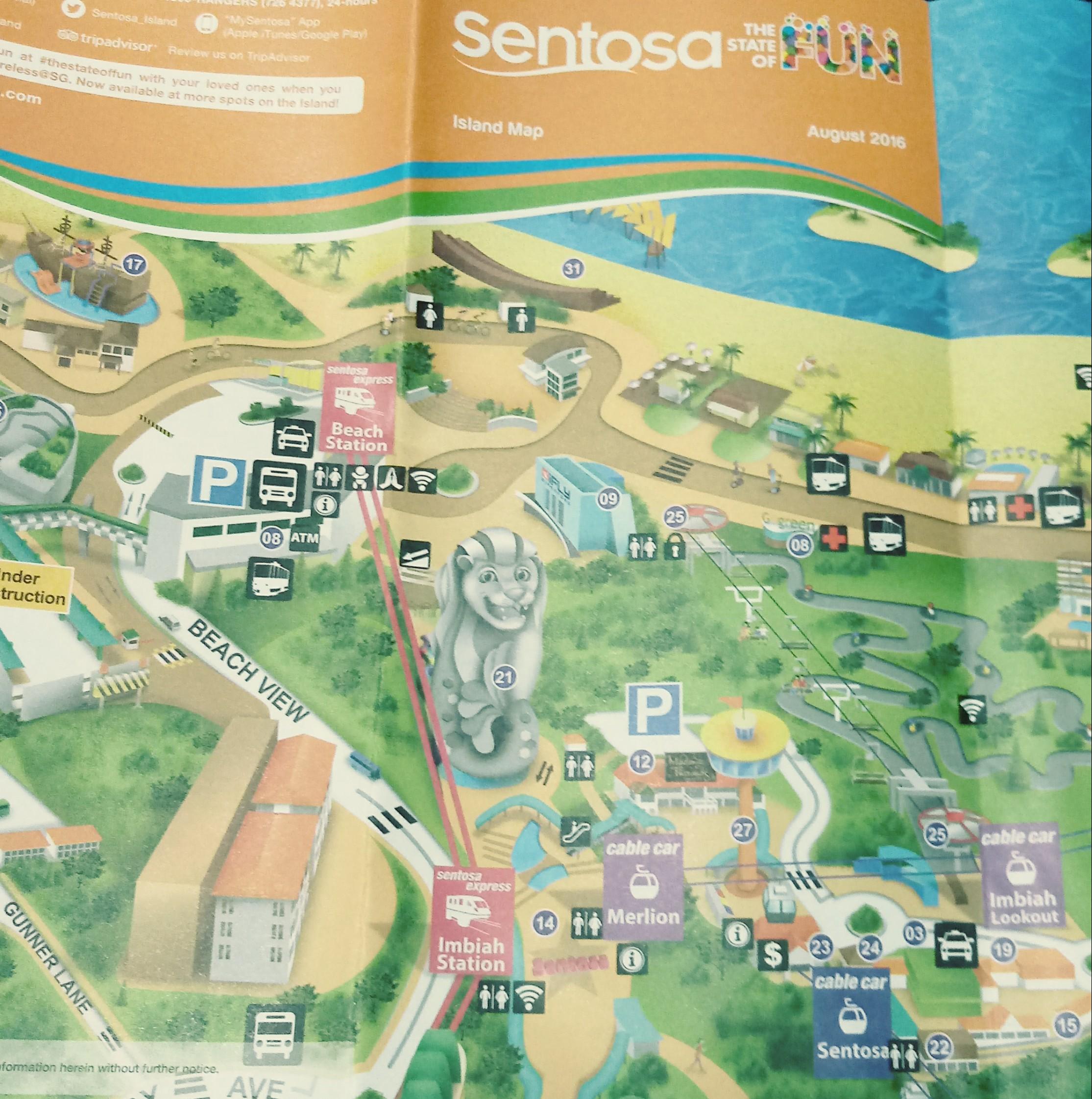 Il Merlion (quello alto trentasette metri!) rappresentato in una mappa di Sentosa, l'isola dei divertimenti di Singapore.