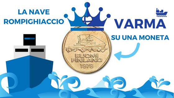 La nave rompighiaccio Varma su una moneta finlandese di qualche tempo fa